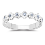 0.17 Cts Diamond Filigree Stack Band in 14K White Gold