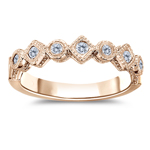0.30 Cts Diamond Filigree Stack Band in 14K Pink Gold