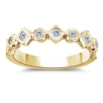 Stack Band - 0.17 Ct Diamond Filigree Stack Band in 14K Gold