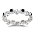 0.69 Cts Black & White Diamond Band in 14K White Gold