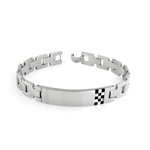 Onyx and Mother of Pearl Checkboard Men's Bracelet in Stainless Steel