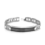 Diamond-Cut Lines Black Steel Edges Men's Bracelet in Stainless Steel