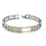 Men's Two Tone Gold Plate Bracelet in Stainless Steel