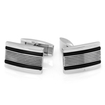 Diamond-Cut Lines with Black Steel Men's Cufflinks in Stainless Steel