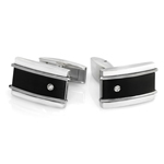 0.02 Cts Diamond Men's Cufflinks in Black Titanium &Stainless Steel