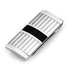 Men's Lea Columns With Black Steel Strip Money Clip in Stainless Steel