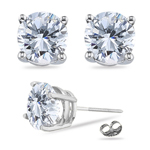 1.00 Ct 5 mm H-SI Round Diamond Stud Earrings in 18K White Gold