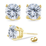 1.00 Ct 5 mm H-SI Round Diamond Stud Earrings in 18K Yellow Gold