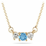 4 mm Swiss Blue Topaz & 1/4 Cts Diamond Pendant in 18K Yellow Gold
