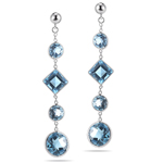 8.74 Cts Swiss Blue Topaz Drop Earrings in 14K White Gold
