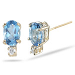 0.02 Ct Diamond & 6x4 Oval Swiss Blue Topaz Stud Earrings in 14KY Gold