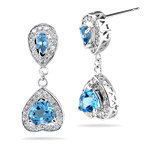 0.99 Ct Diamond & 1.00 Cts Swiss Blue Topaz Earrings in 14K White Gold
