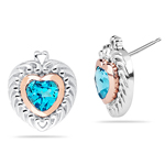 2.04 Ct 6 mm AA Swiss Blue Topaz Heart Earrings in Pink Gold & Silver