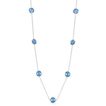 17.65 Cts Swiss Blue Topaz Yard Necklace in 14K White Gold