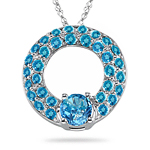 3.46-3.55 Cts Swiss Blue Topaz Circle Pendant in 14K White Gold