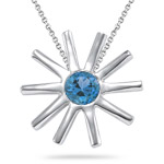 0.25-0.39 Ct 4 mm AA Round Swiss Blue Topaz Solitaire Star Pendant - Silver