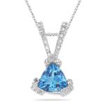 0.11 Cts Diamond & 1.60 Cts Swiss Blue Topaz Pendant in 14K White Gold