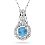 0.33 Ct Diamond & 1.00 Cts Swiss Blue Topaz Pendant in 14K White Gold