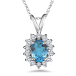 0.28 Cts Diamond & 1.46 Cts Swiss Blue Topaz Pendant in 18K White Gold