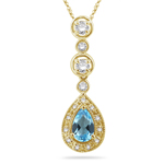 0.31 Cts Diamond & 1.06 Cts Swiss Blue Topaz Pendant in 14K Yellow Gold