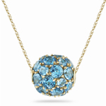 7.10 Cts Swiss Blue Topaz Fashion Pendant in 14K Yellow Gold - Christmas Sale