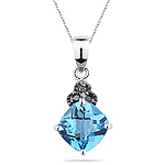 0.03 Ct Black Diamond & 1.58 Cts Swiss Blue Topaz Pendant in 14K White Gold