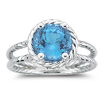 2.53 Ct 8 mm AA Round Swiss Blue Topaz Solitaire Ring - 14K White Gold