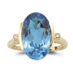 0.01 Ct Diamond & 8.90 Cts Swiss Blue Topaz Ring in 14K Yellow Gold