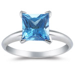 2.07 Cts of 7 mm AA Princess Swiss Blue Topaz Solitaire Ring in 14K White Gold