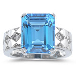 0.08 Cts Diamond & 7.72 Cts AAA Swiss Blue Topaz Ring in 14K White Gold