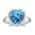 0.15 Ct Diamond & 4.50 Ct Swiss Blue Topaz Heart Ring - 14K White Gold