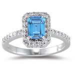0.26 Ct Diamond & 1.20 Ct Swiss Blue Topaz Ring in 18K White Gold