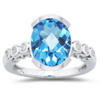 0.12 Cts Diamond & 5.90 Cts Swiss Blue Topaz Ring in 14K White Gold
