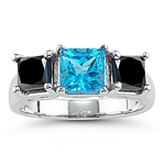 1.72 Ct Black Diamond & 1.51 Ct Swiss Blue Topaz Ring - 14K White Gold