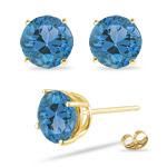 7 mm Round Swiss Blue Topaz Stud Earrings in 14K Yellow Gold