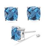 7 mm Cushion Checkered Swiss Blue Topaz Stud Earrings in 14K White Gold
