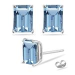10x8 mm Emerald Cut Swiss Blue Topaz Stud Earrings in 14K White Gold