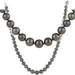 Tahitian Cultured Pearl Graduated Necklace in 18K White Gold