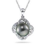 0.18 Ct Diamond & Tahitian Black Pearl Pendant in 14K White Gold