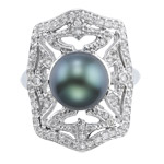2/5 Cts Diamond & 9.5 mm Tahitian Black Cultured Pearl Ring in 14K White Gold