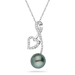 0.16 Ct Diamond & 9.0 mm Tahitian Pearl Heart Pendant - 18K White Gold