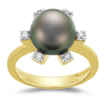0.14 Ct Diamond & 10mm Tahitian Pearl Ring in 14K Yellow Gold