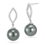 0.24 Cts Diamond & Tahitian Pearl Earrings in 18K White Gold