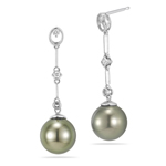 0.14 Cts Diamond & Tahitian Pearl Dangle Earrings in 18K White Gold
