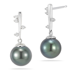0.14 Cts Diamond & Tahitian Pearl Drop Earrings in 18K White Gold