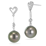 0.06 Cts Diamond & Tahitian Pearl Earrings in 18K White Gold