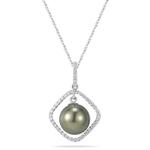 0.23 Cts Diamond & Tahitian Pearl Pendant in 18K White Gold