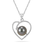 0.21 Cts Diamond & Tahitian Cultured Pearl Heart Pendant in 18K White Gold