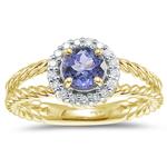 0.17 Cts Diamond & 0.76 Cts Tanzanite Ring in 14K Yellow Gold.