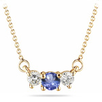 4 mm Tanzanite & 1/4 Cts Diamond Pendant in 18K Yellow Gold